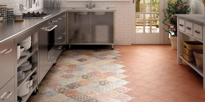 kitchen floor tile ... view in gallery arabesque tile kitchen floor patchwork equipe 4jpg  amazing VTSQAJM