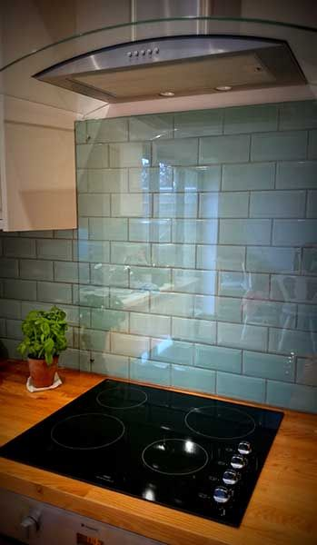 kitchen tile ideas kitchen splash back over duck egg blue tiles with cooker hood WZOUMLE