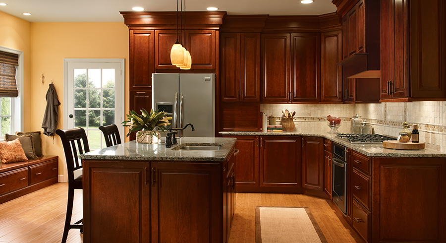 kraftmaid cabinets 4 unique ways to use cherry cabinets in your kitchen - kraftmaid RRQRXPV