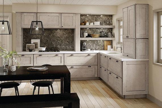 kraftmaid cabinets maple kitchen in aged concrete XSETFCI