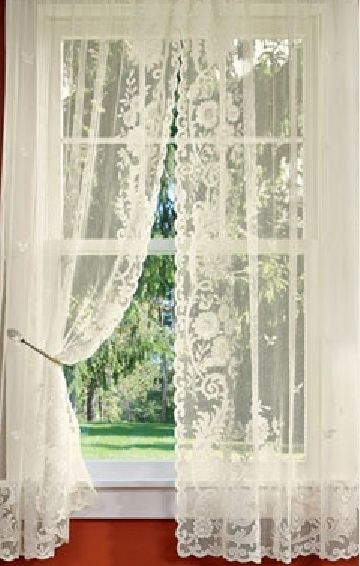 lace curtains floral point lace rod pocket curtains - via country curtains ZQFSUKS