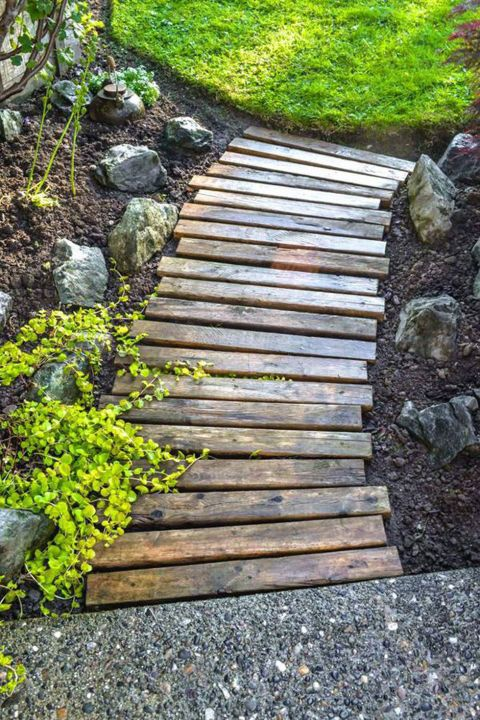 landscape ideas 12 ways to make your yard look professionally landscaped. wooden  walkwayscheap landscaping DKRXRRC