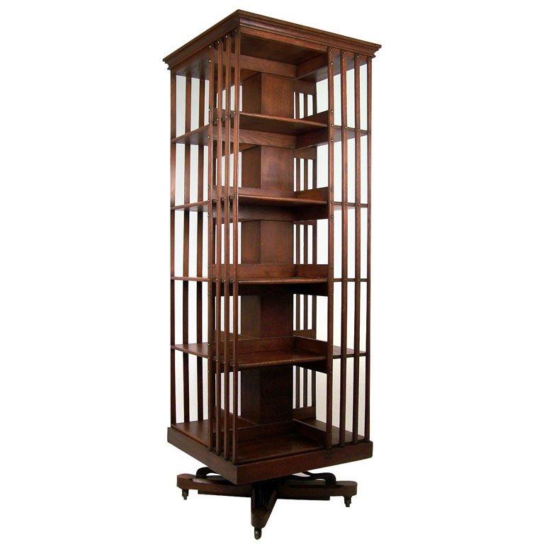 large american oak revolving bookcase 1 PCATAVR