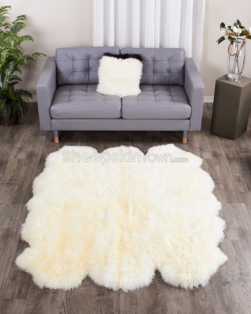 large ivory white sheepskin rug - 6-pelt sexto (5.5x6 ft) NYTQLHA