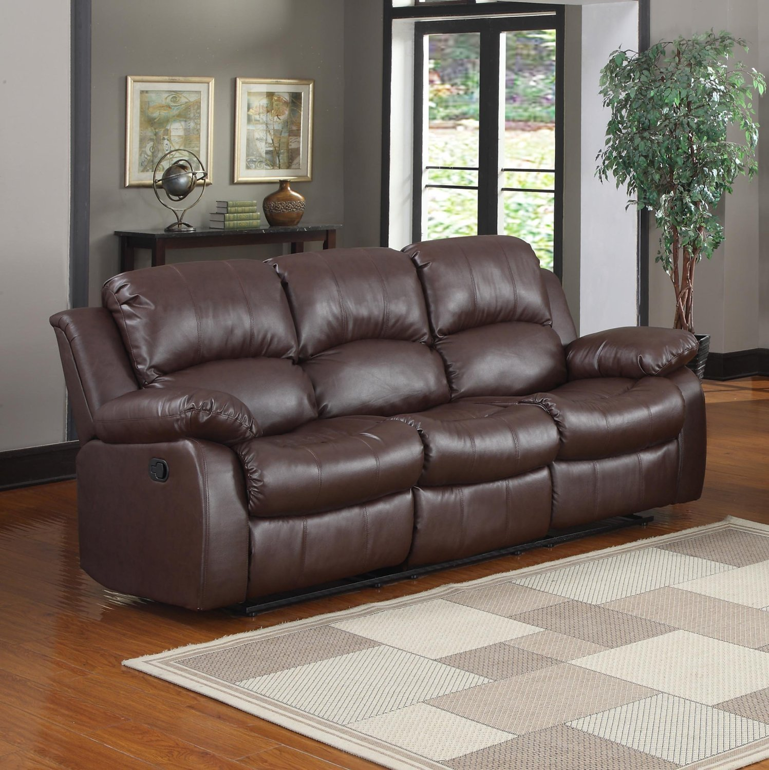 Leather Reclining Sofa for Added Comfort in Living Room