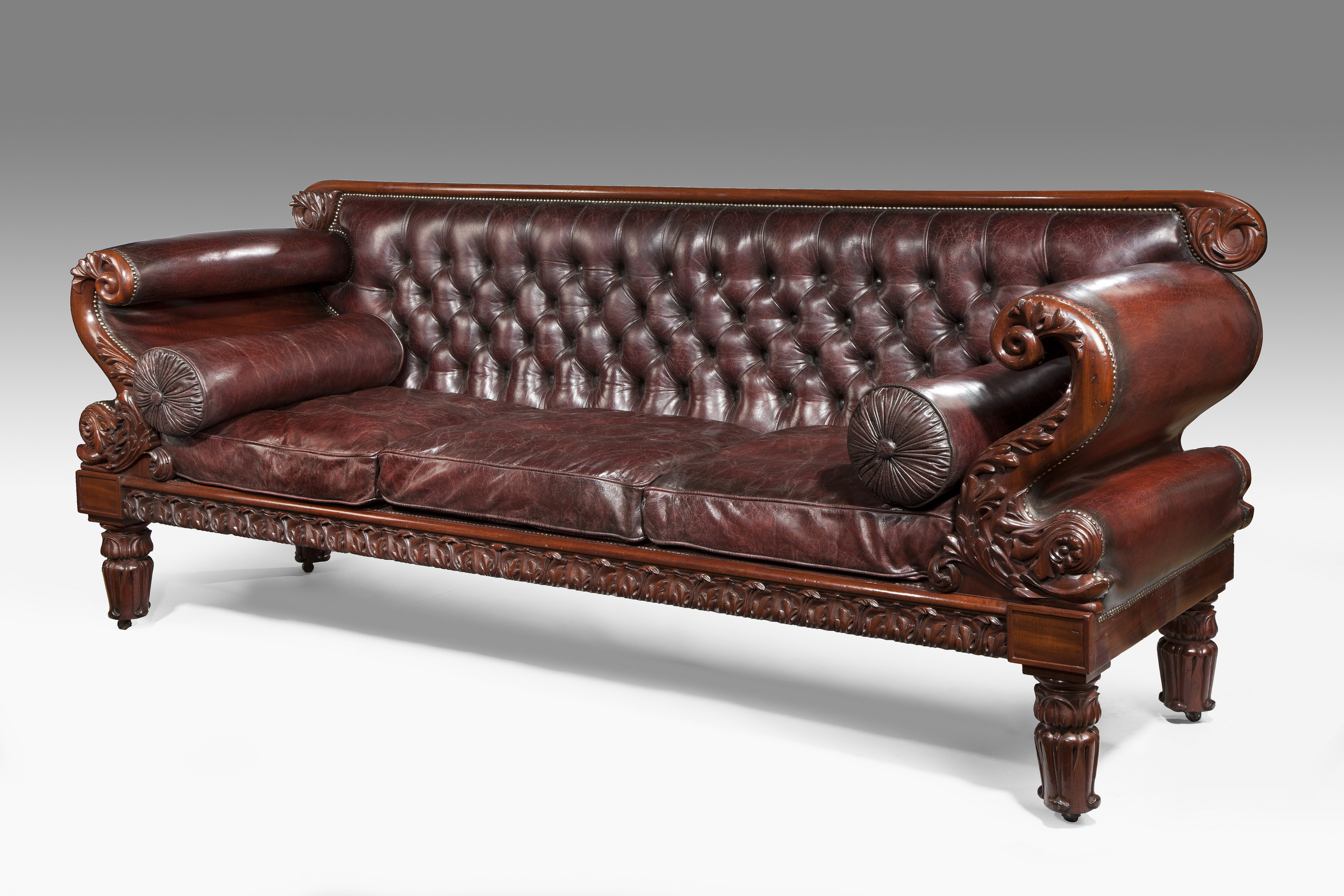 Leather Regency Antique Sofa QWVBPNQ N86