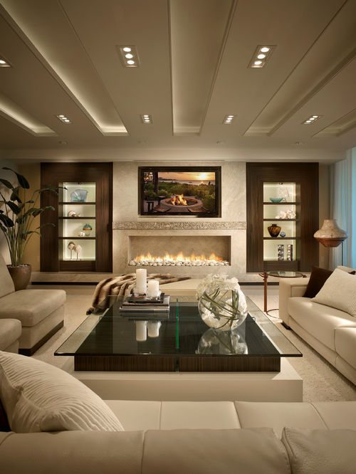 living room designs example of a trendy white floor living room design in miami with a PNCKQJJ