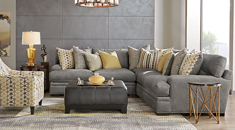 living room furniture sets cindy crawford home palm springs gray 3 pc sectional EIUJYOJ