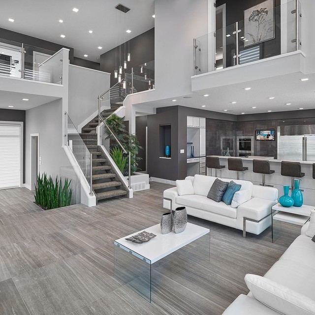 living rooms ideas interior stairs and handrails contemporary-living-room YKSJJTN