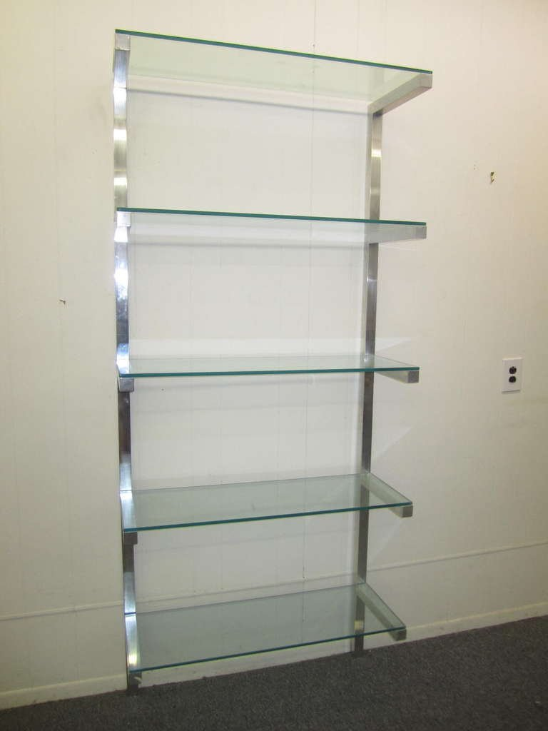 lovely pair of floating aluminum and glass shelves etagere mid-century  modern 2 KFVMOLU