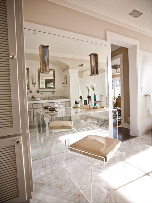 lucite furniture eclectic bathroom idea in san diego with louvered cabinets FVEXJXC