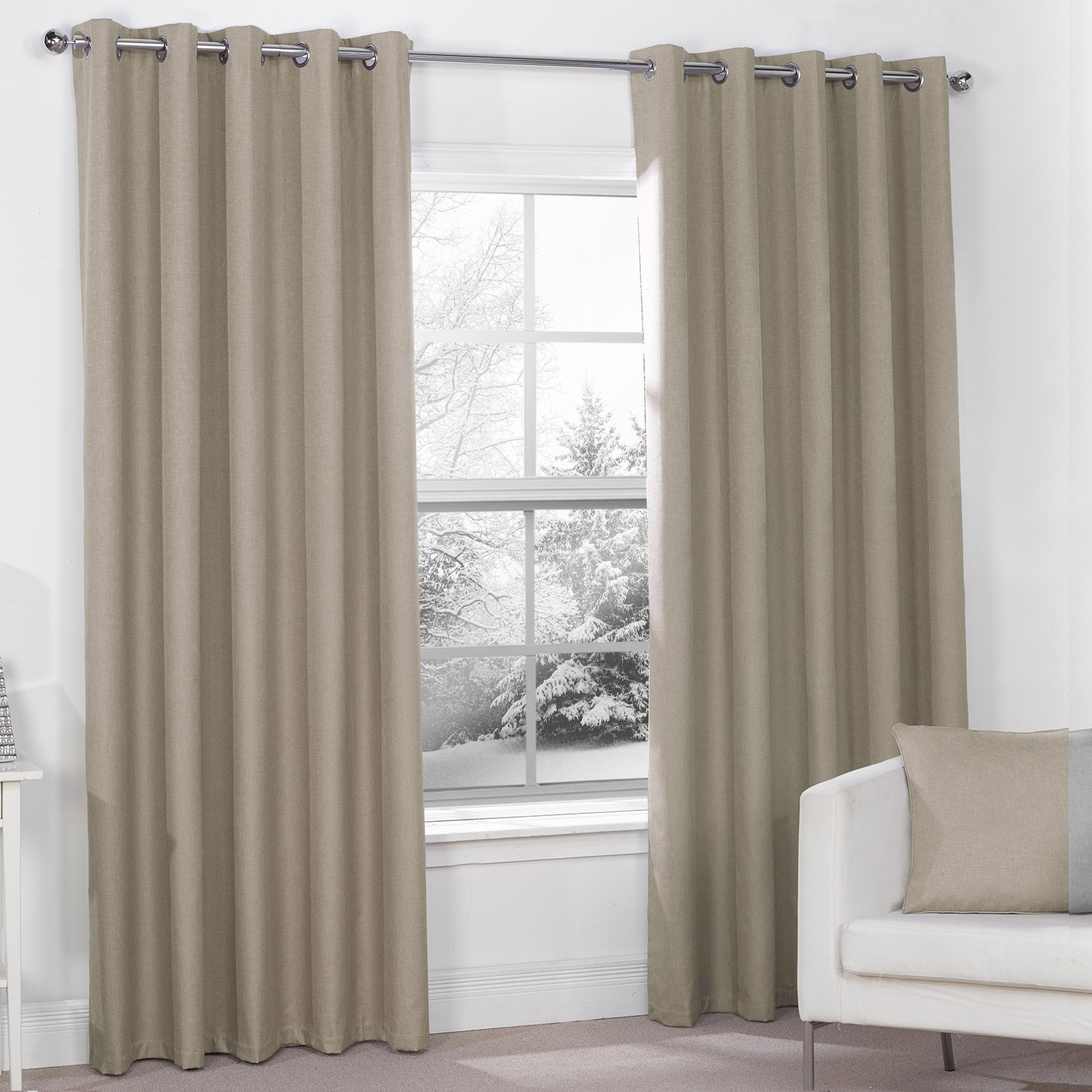 luna mocha luxury thermal blackout eyelet curtains (pair) GRFOULW