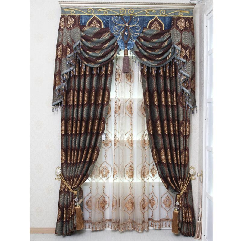 luxury chenille wine/dark blue floral jacquard vintage curtains VPUIVUG