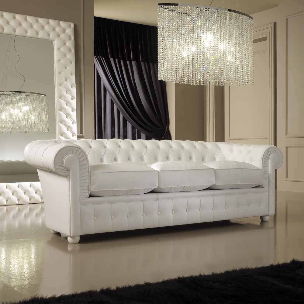 luxury italian premium white leather sofa PTCULAD