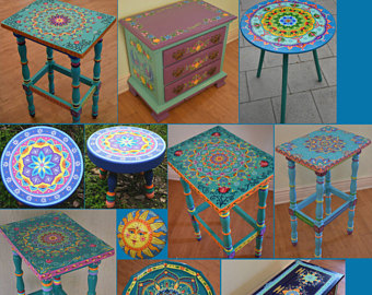 made to order. sold. this is an example. hand painted furniture, boho FIXPCQQ