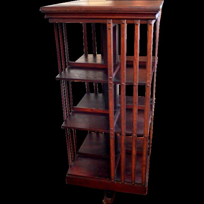 mahogany revolving bookcase signed john danner three shelves UVJCKKD