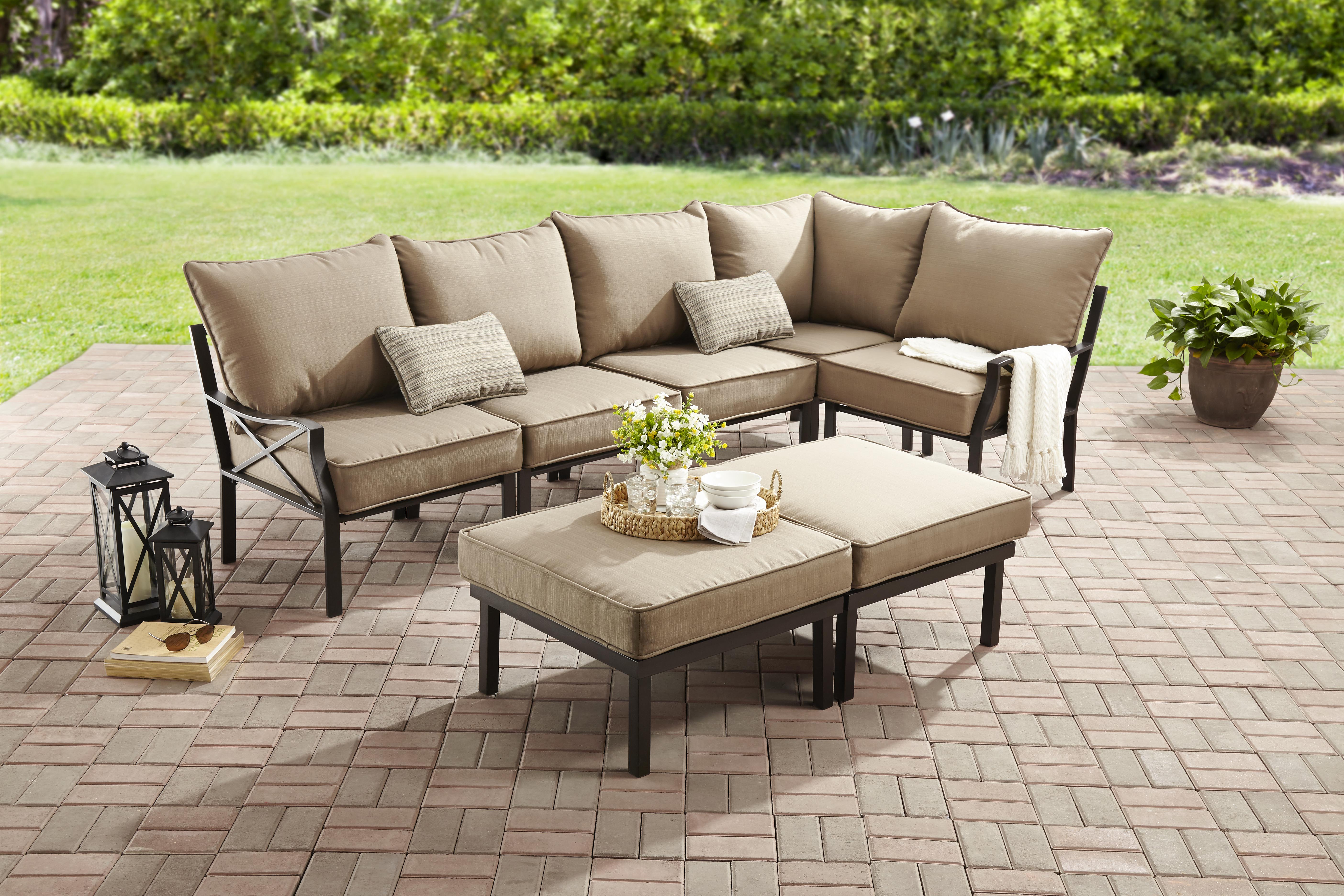 mainstays sandhill 7-piece outdoor sofa sectional set, seats 5 WLHGAZJ