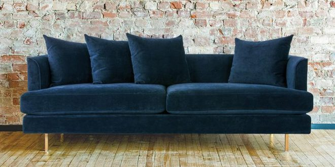 margot midnight blue velvet sofa FYKZIAP