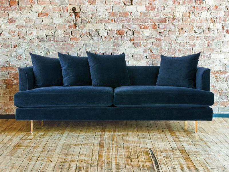 Charmant Margot Midnight Blue Velvet Sofa FYKZIAP