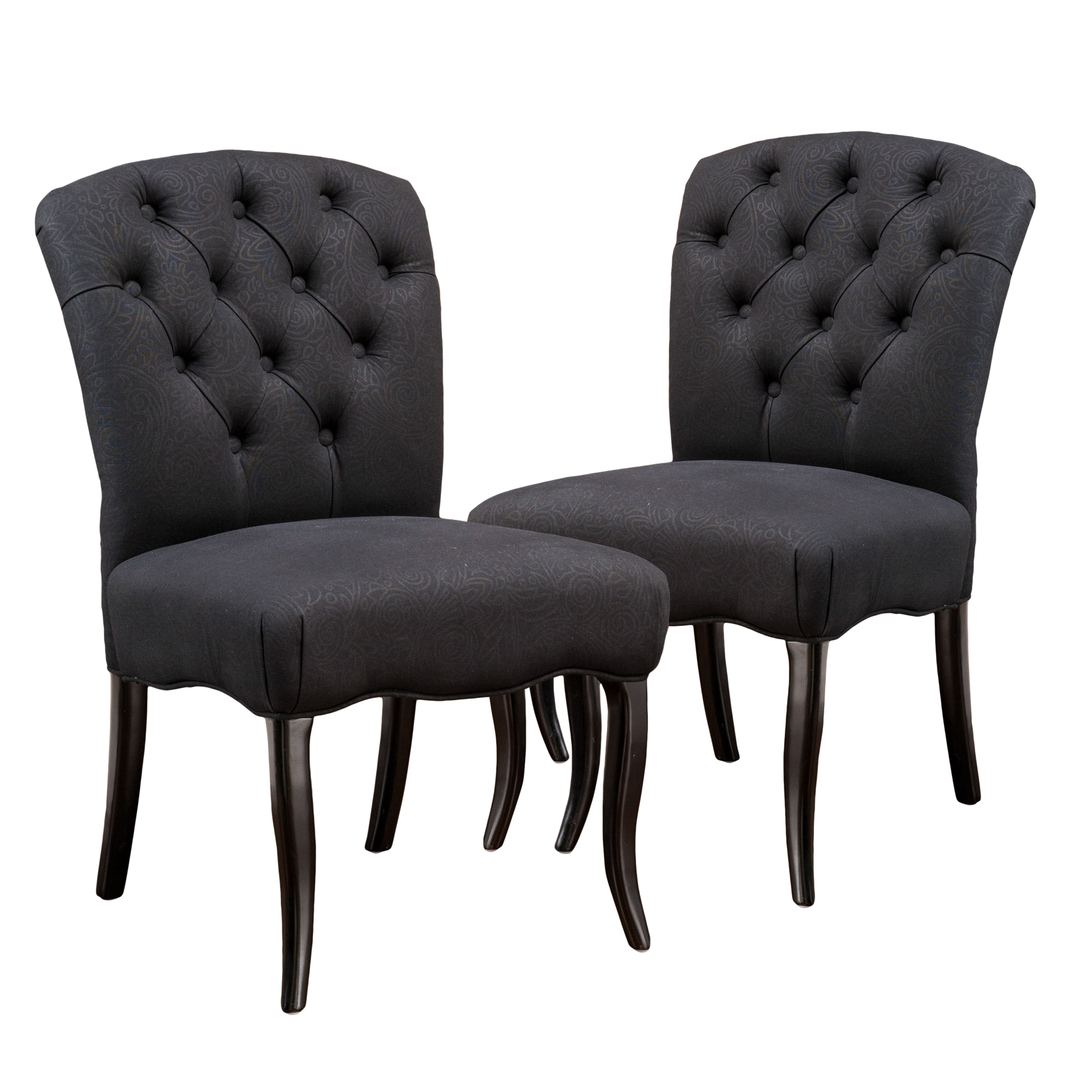 mckenzie black scroll fabric dining chairs (set of 2) AFGOKKB