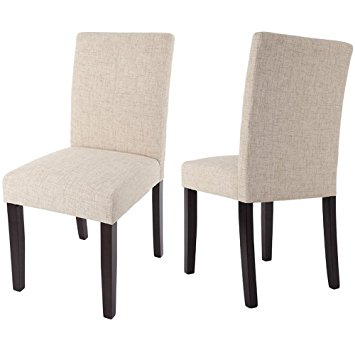merax classic fabric dining chairs with solid wood legs set of 2 (beige) ZYGZTDT