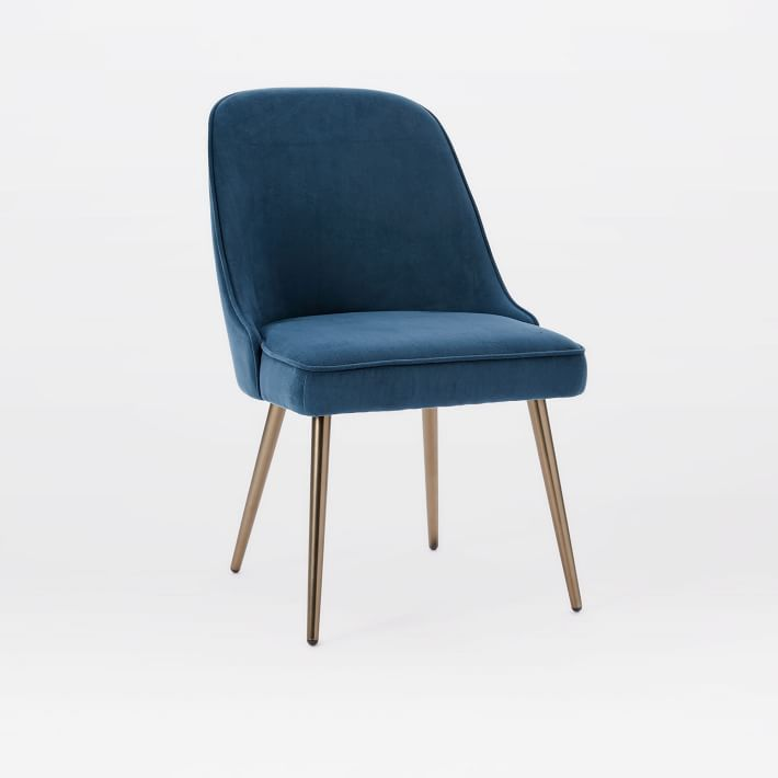 mid-century upholstered dining chair - velvet | west elm IEXBLYD