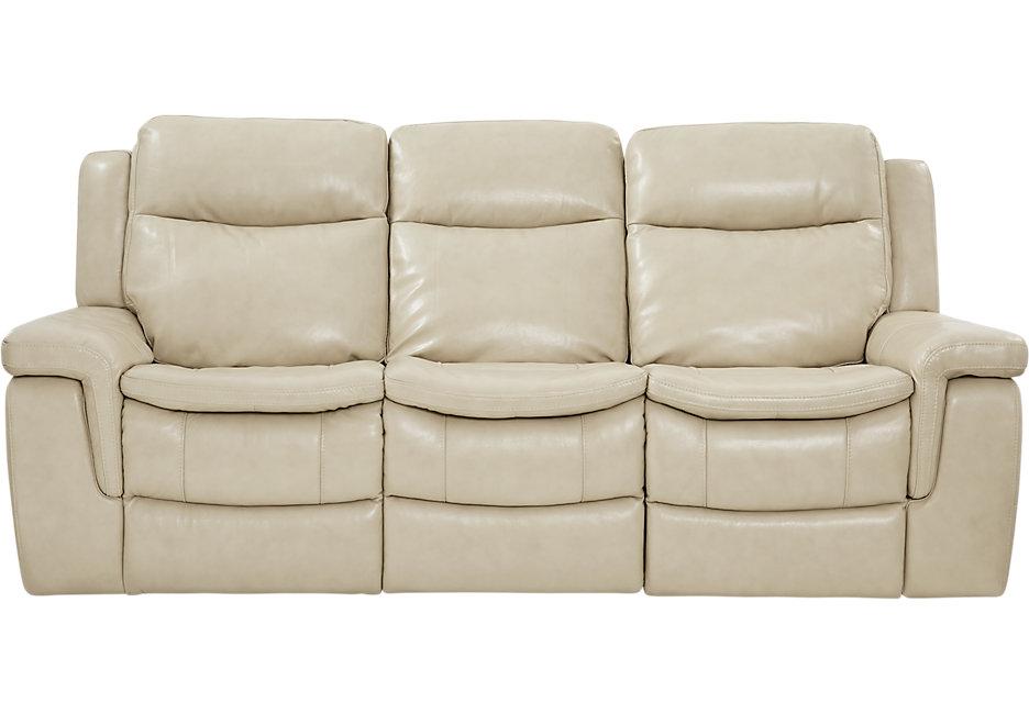 milano stone leather reclining sofa - reclining sofas (beige) QWBDNIA
