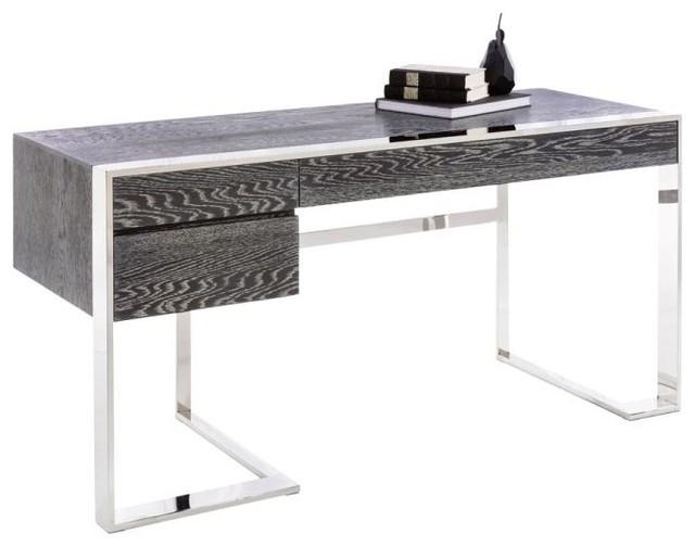 modern desk, german oak veneer and polished stainless steel base modern- desks-and KRZSMDV