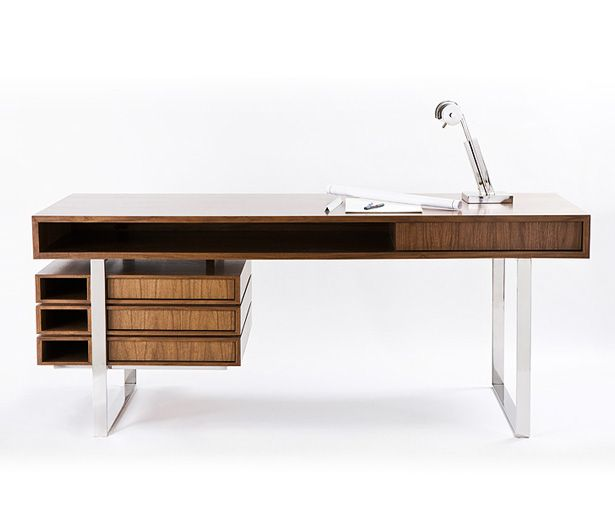 modern desk if itu0027s hip, itu0027s here: the walnut u0026 maple wood boxeo desk by RXIRKEE