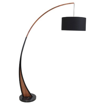 modern floor lamps noah mid - century modern floor lamp with walnut frame and marble base RHGQUEJ