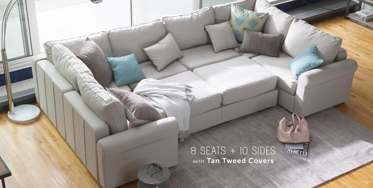 modular sectional sofa ... 8 seats + 10 sides with tan tweed covers ... MGGUBIO