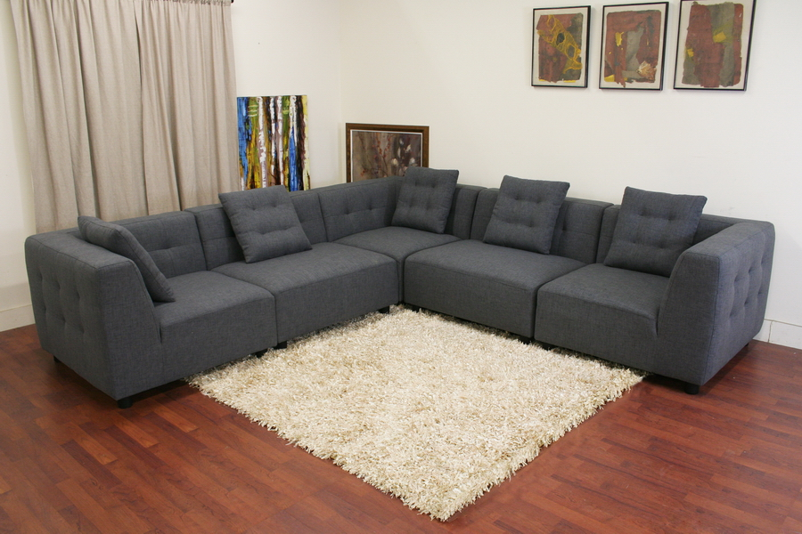 modular sectional sofa baxton studio alcoa gray fabric modular modern sectional sofa ZKGEJHU