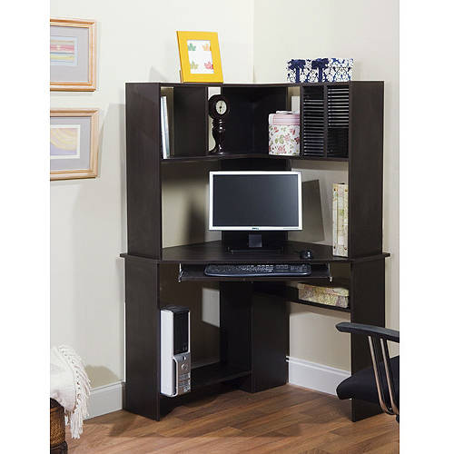morgan corner computer desk and hutch, black oak EHMXSCX