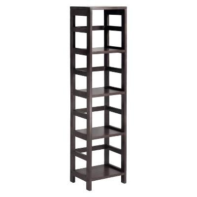 narrow bookcase 4 section narrow bookshelf espresso - winsome QMIIEWA