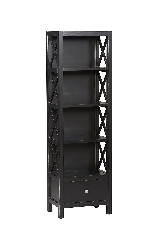 narrow bookcase amazon.com: linon anna collection tall narrow 5-shelf bookcase: kitchen u0026  dining HCKIVWO
