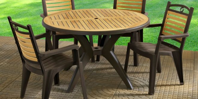 natural plastic patio furniture set JIBKQLF