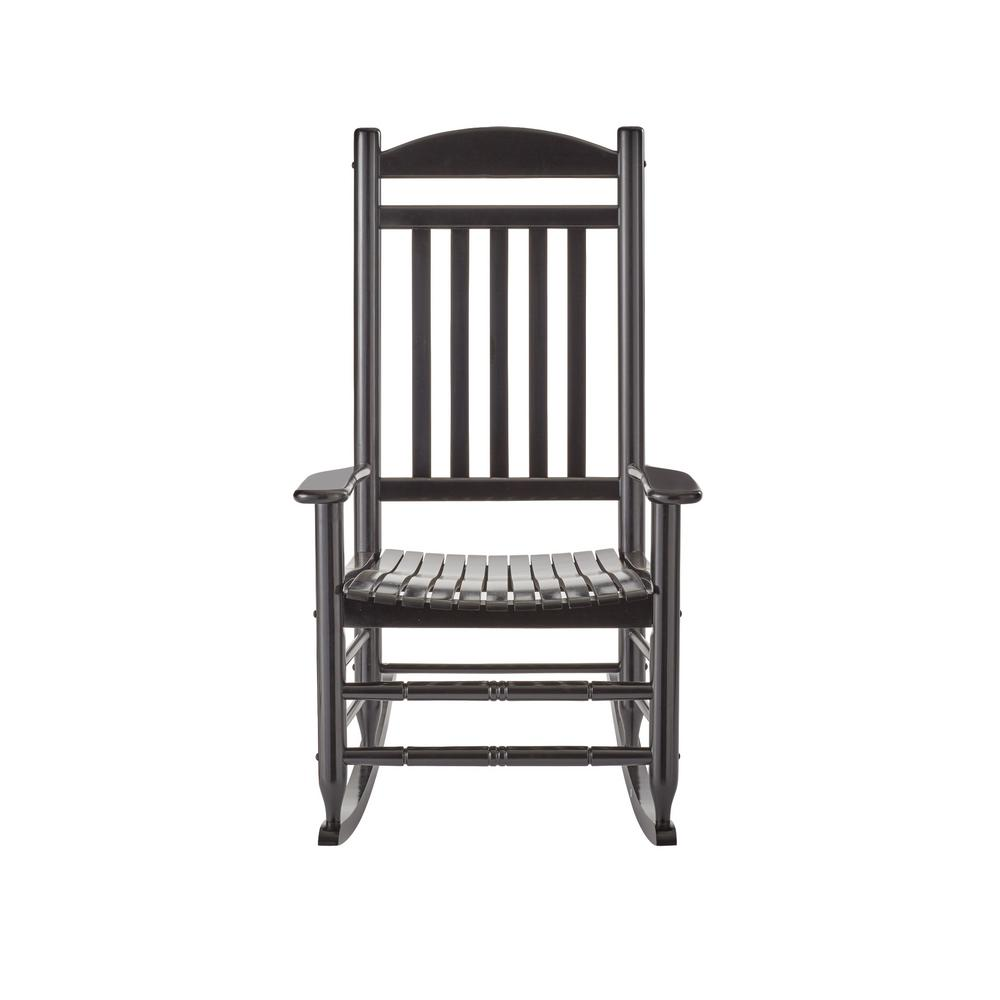null black wood outdoor rocking chair THFNARM