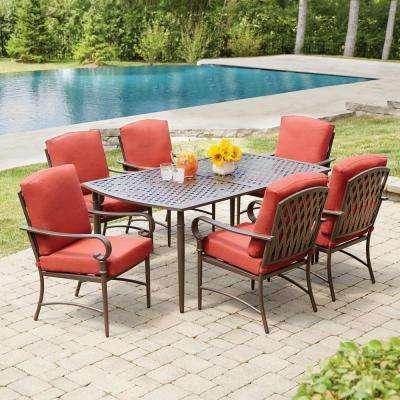 oak cliff 7-piece metal outdoor dining set ... SXPTNRQ