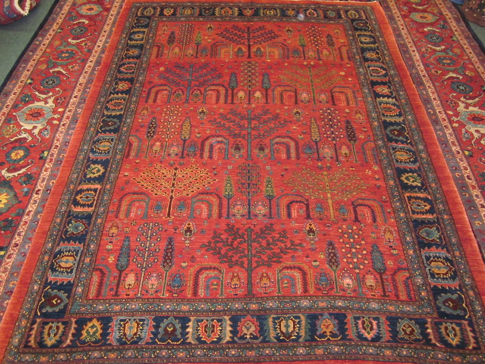 oriental rug 6 x 8 brick red cypress and willow design persian tribal rug. XLVUYNJ