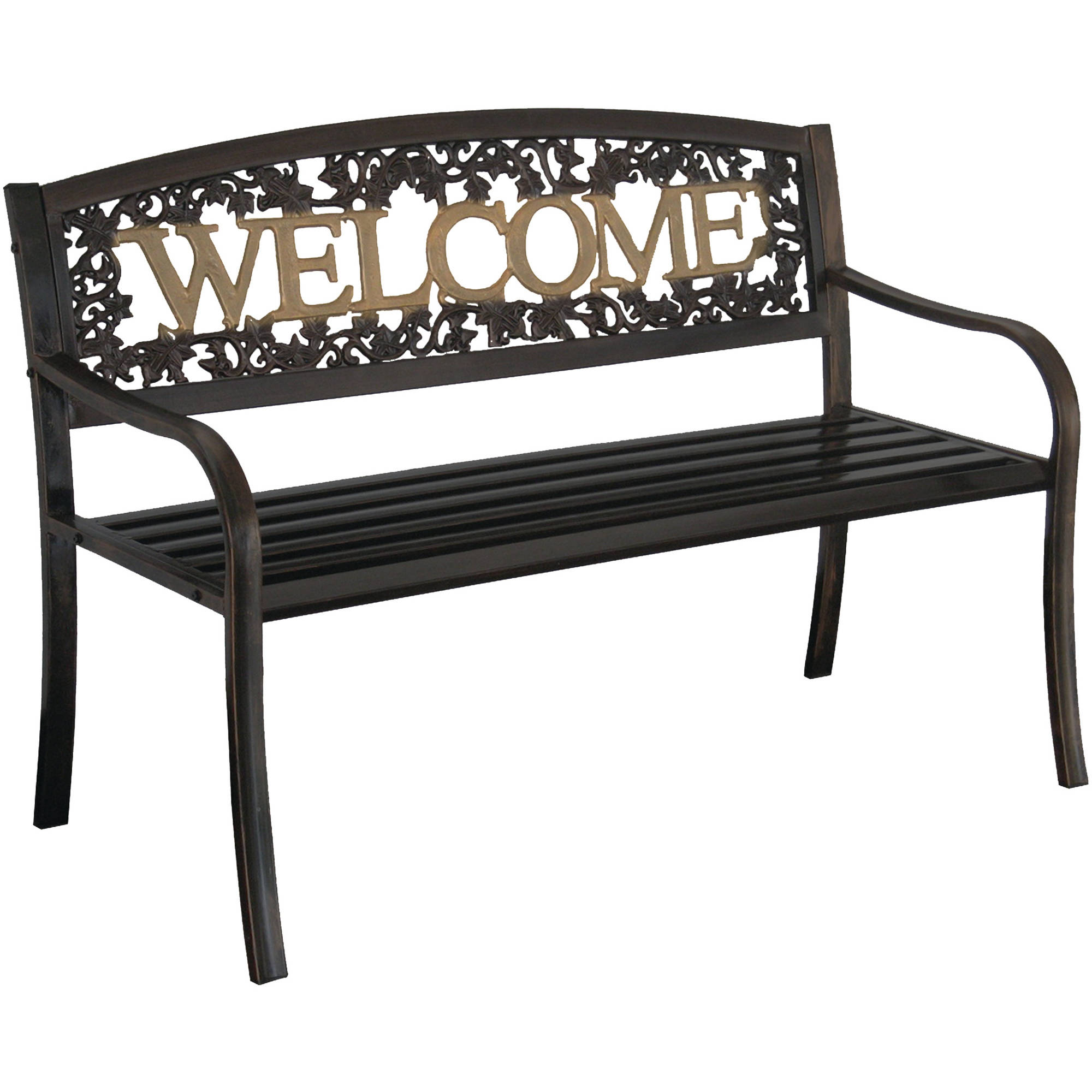 outdoor benches leigh country welcome outdoor garden bench, black/gold - walmart.com LVGEZSM