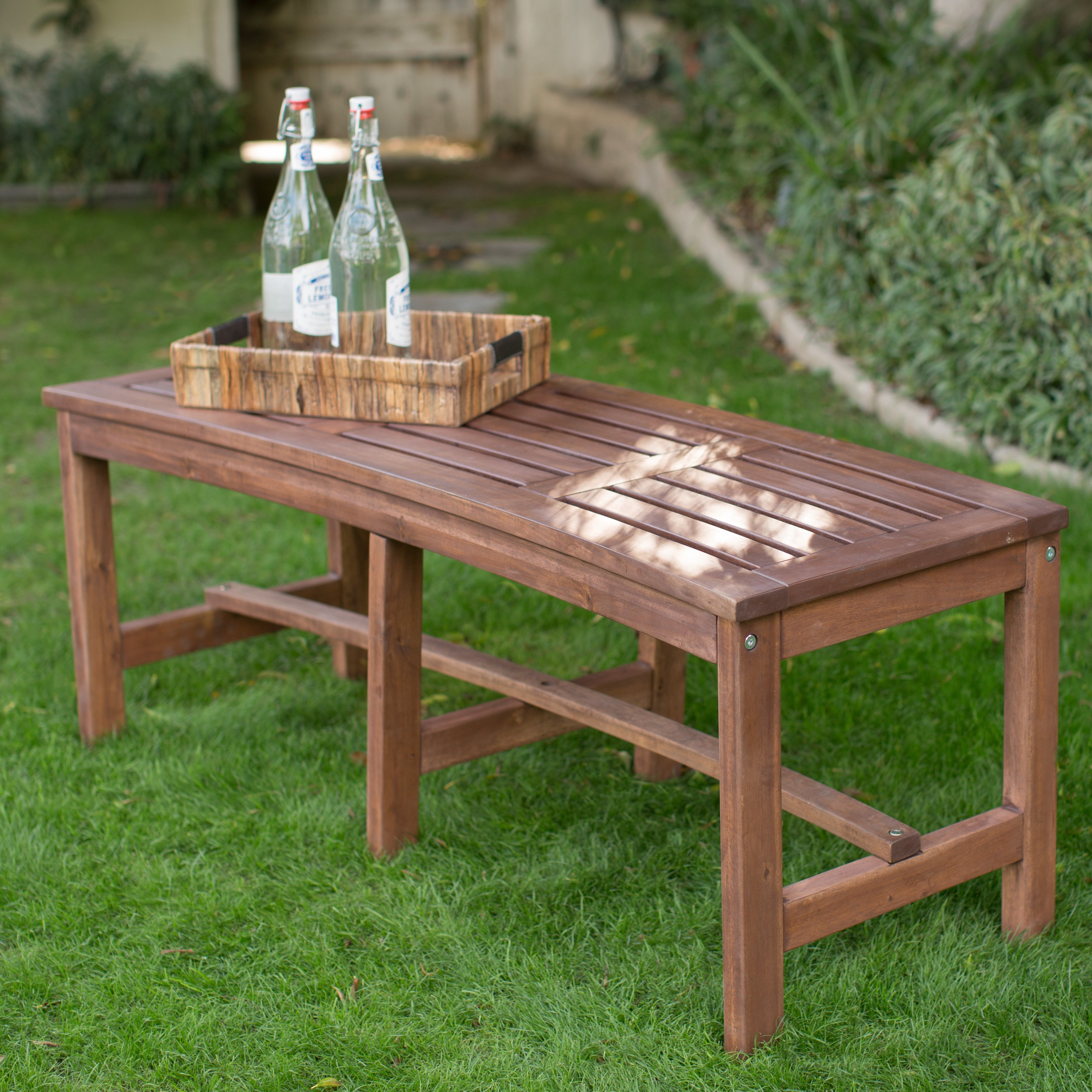 outdoor benches outdoor wood curved backless bench - dark brown IAETTOM
