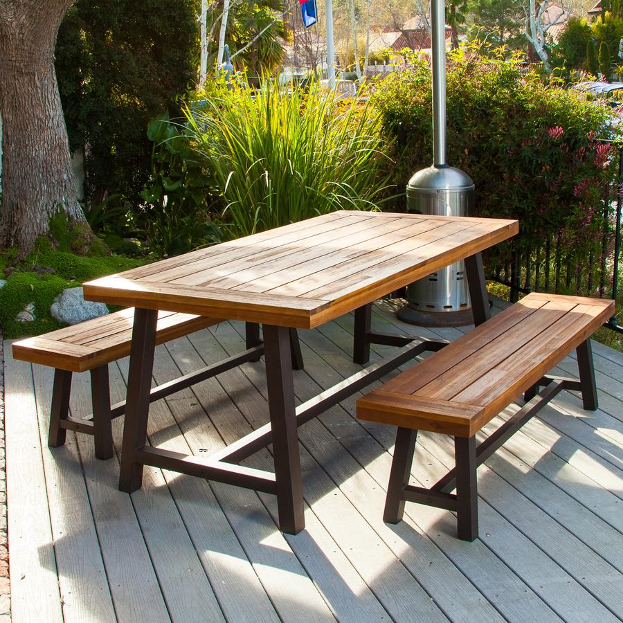 outdoor dining set best selling home decor carlisle 3-piece rustic iron/sandblast wood acacia patio  dining TIXKQZL