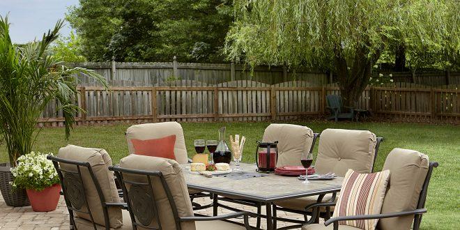outdoor dining set garden oasis brookston 7-piece dining set - stone PPZJZYV