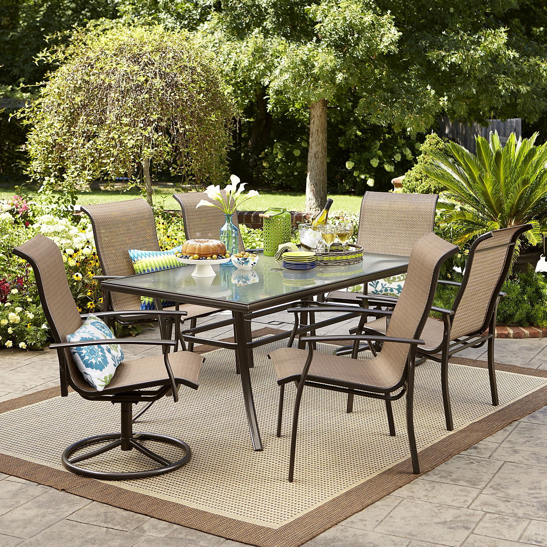 outdoor dining set garden oasis harrison 7 piece dining set ZQAQNXF
