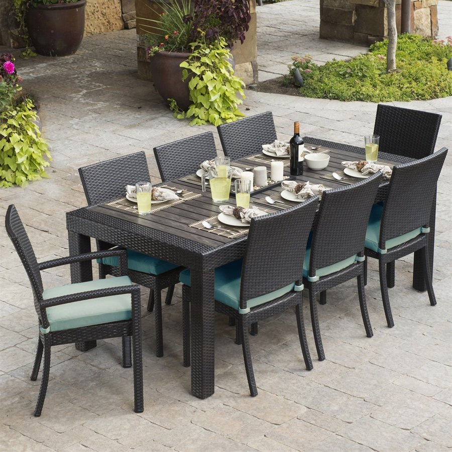 outdoor dining set rst brands deco 9-piece composite patio dining set RQZKKMV