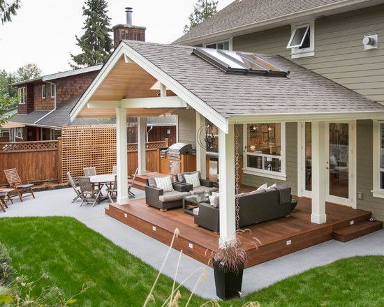 outdoor kitchen in a transitional style by synthesis design. covered patio  ... OPTTVNP