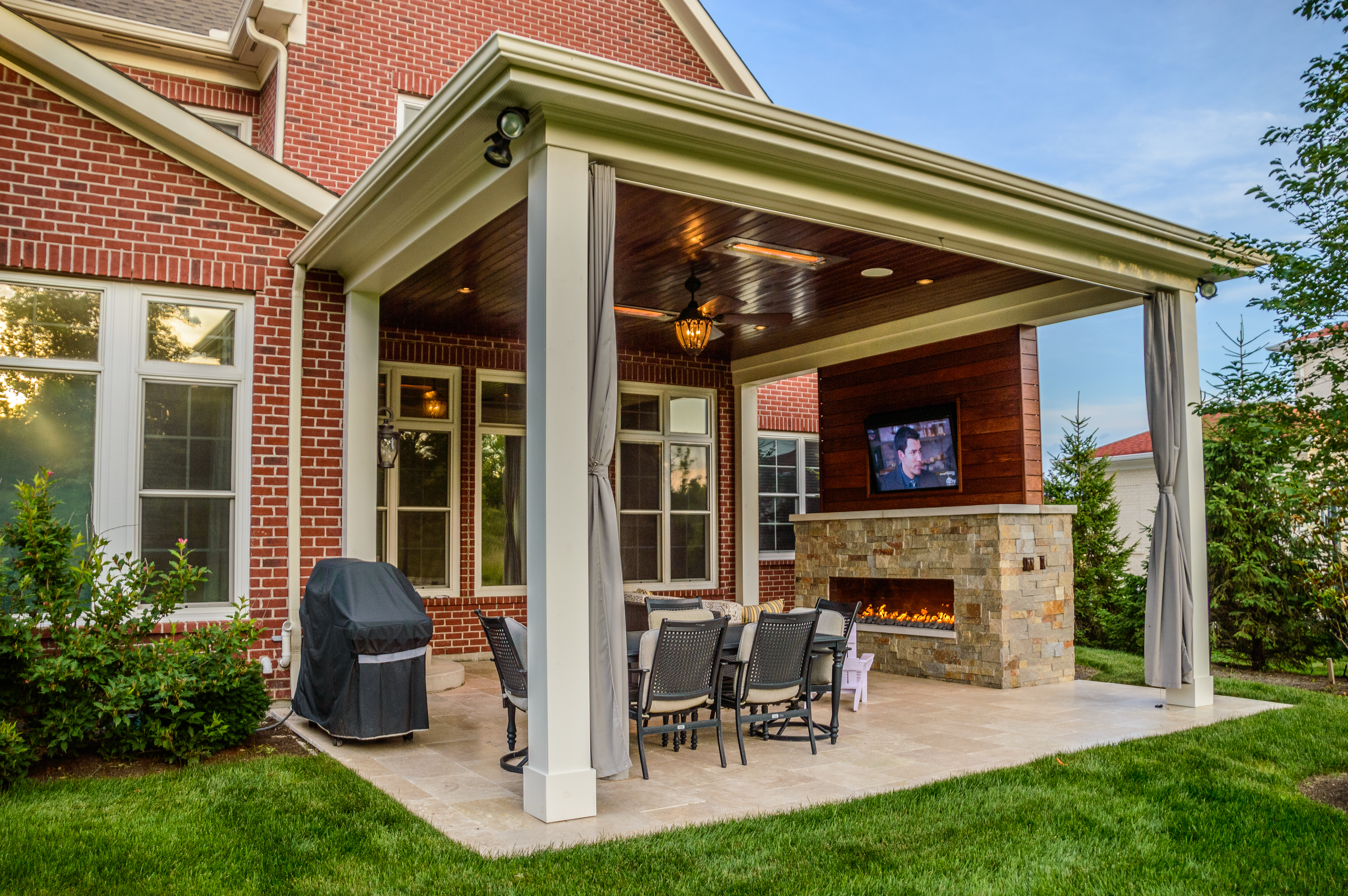 outdoor living space with covered patio and fireplace in mason oh pictures VWGNEUW