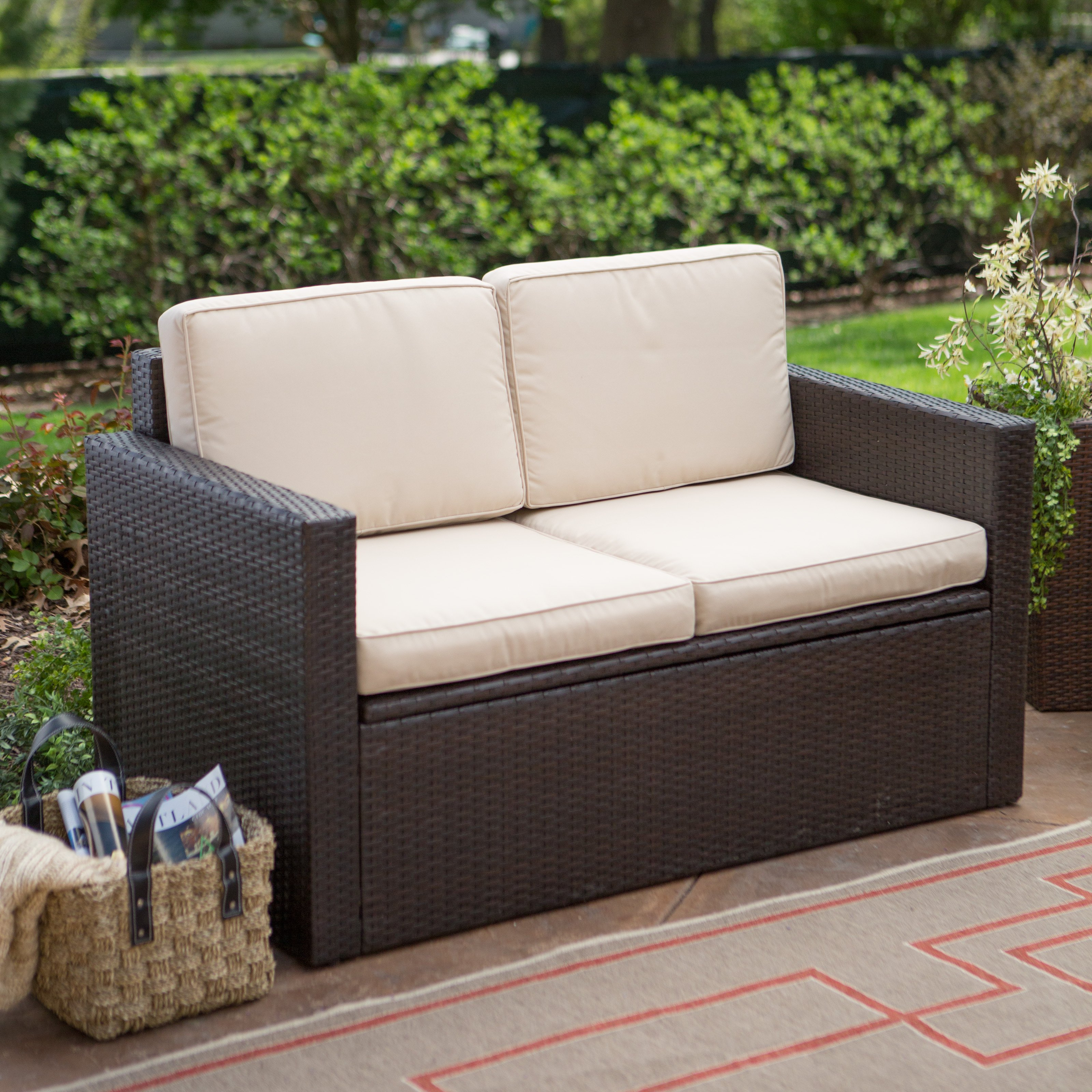 outdoor loveseat coral coast berea outdoor wicker storage loveseat with cushions | hayneedle XOTTXUM