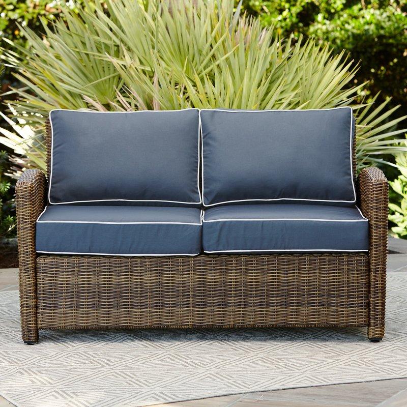 outdoor loveseat lawson wicker loveseat with cushions STEKFUN