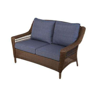 outdoor loveseat spring haven brown all-weather wicker outdoor patio loveseat with sky blue  cushions NSLUCIS
